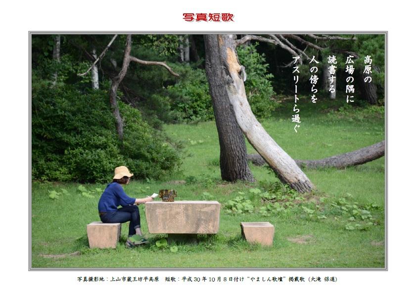 作品番号-07:高原の広場の隅に読書する人の傍らをアスリートら過ぐ