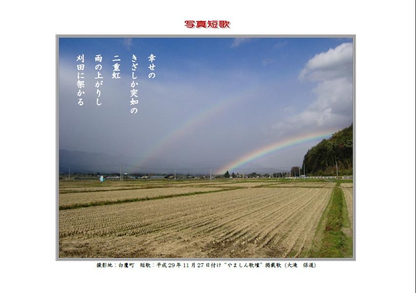 幸せのきざしか突如の二重虹雨の上がりし刈田に架かる