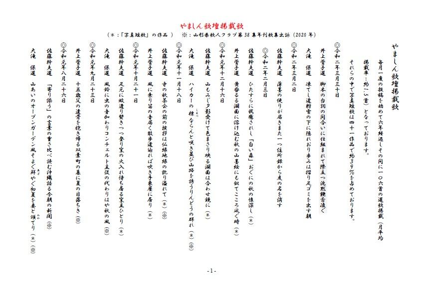 やましん歌壇掲載歌(200330現在)