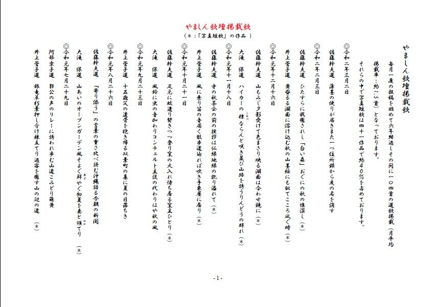やましん歌壇掲載歌(200302現在)