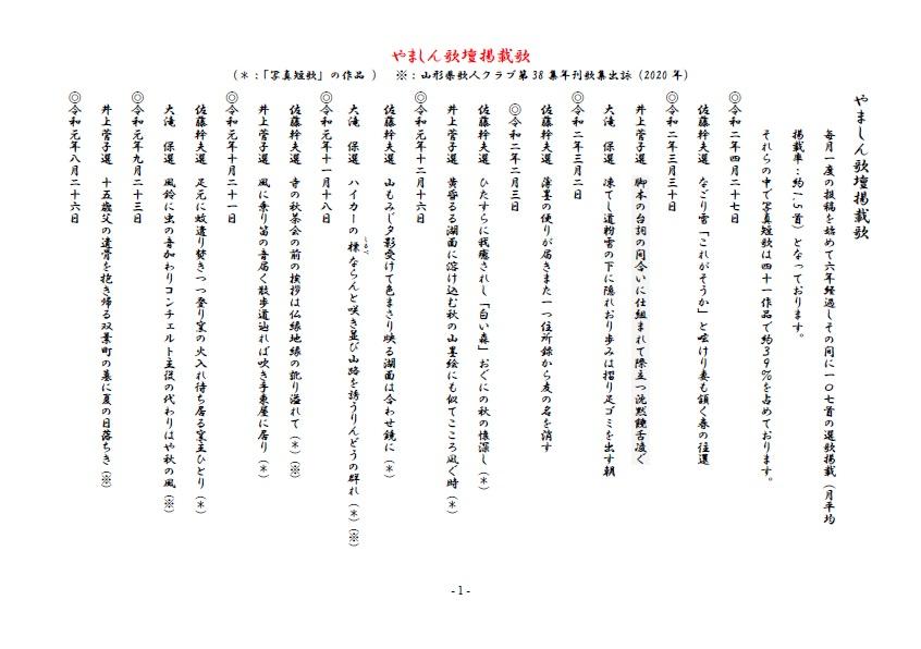 やましん歌壇掲載歌(200427現在)