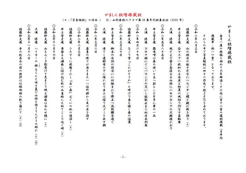 やましん歌壇掲載歌(200803現在)