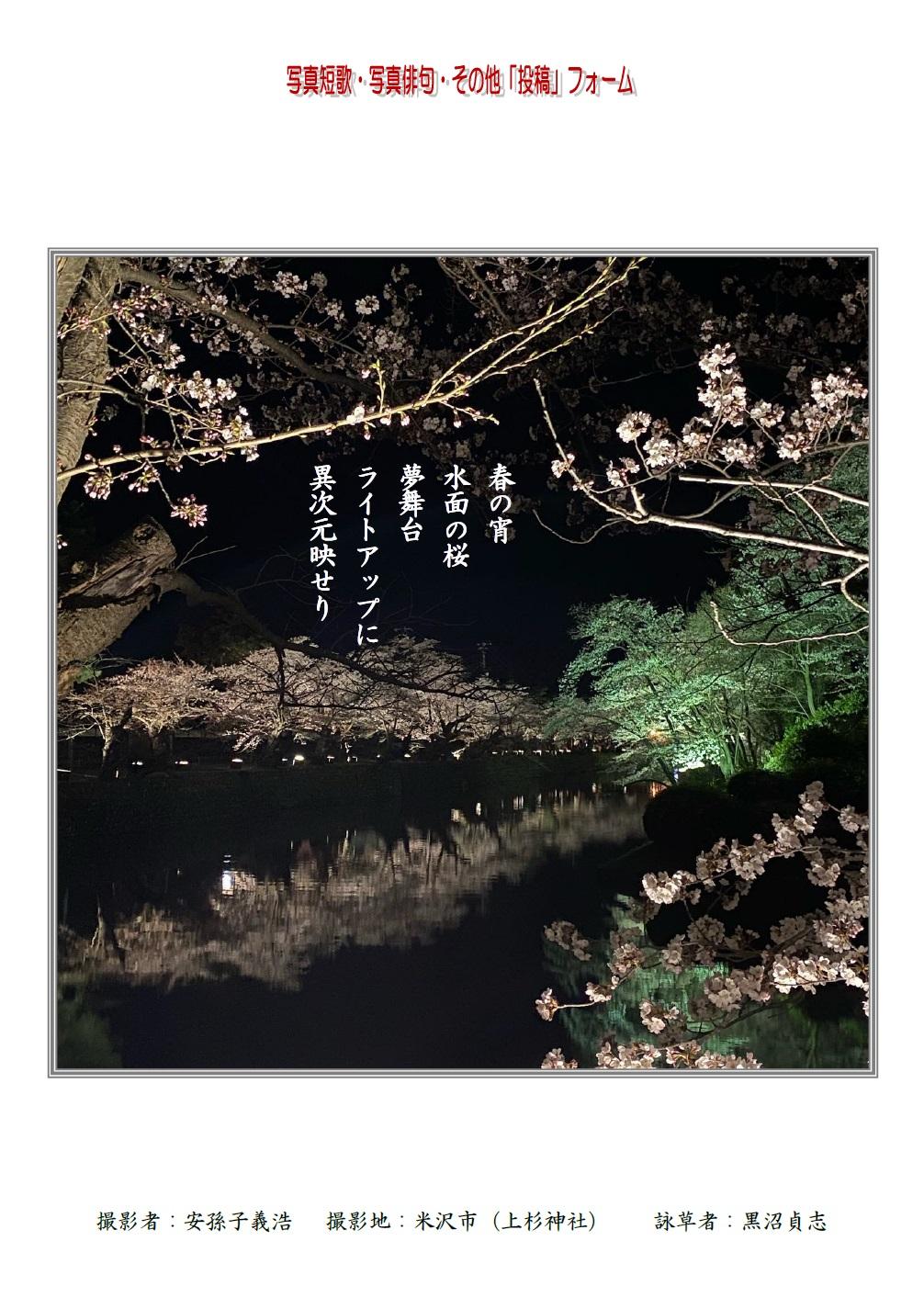 春の宵水面の桜夢舞台ライトアップに異次元映せり